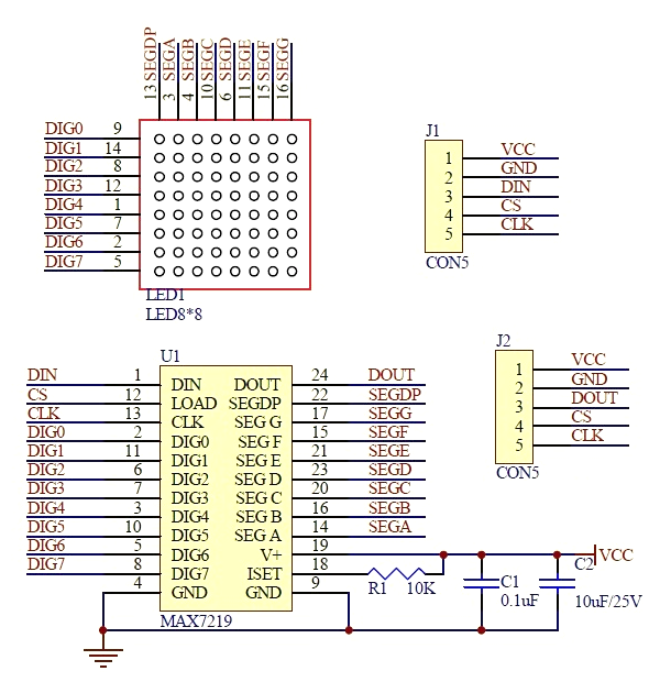 MAX7219 LED 8x8 Module Schematics