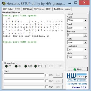 hercules setup serial
