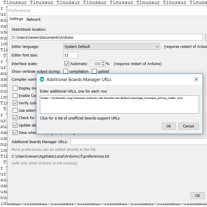 Arduino IDE adding board URL