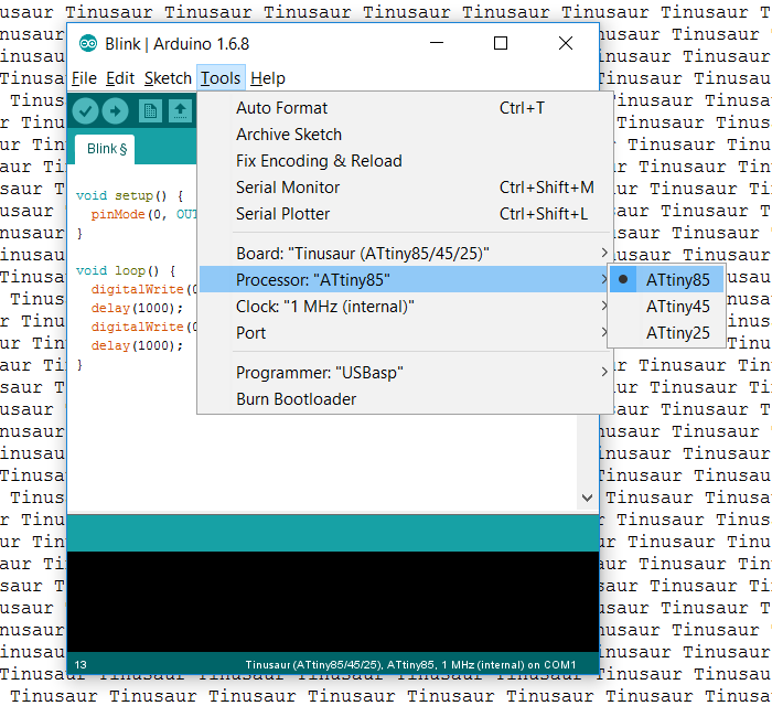 Arduino IDE Tinusaur Board CPU