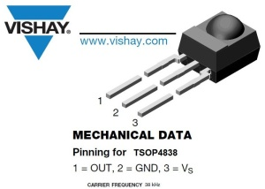 VISHAY TSOP4838 Infrared Receiver, Remote Control, 38 kHz