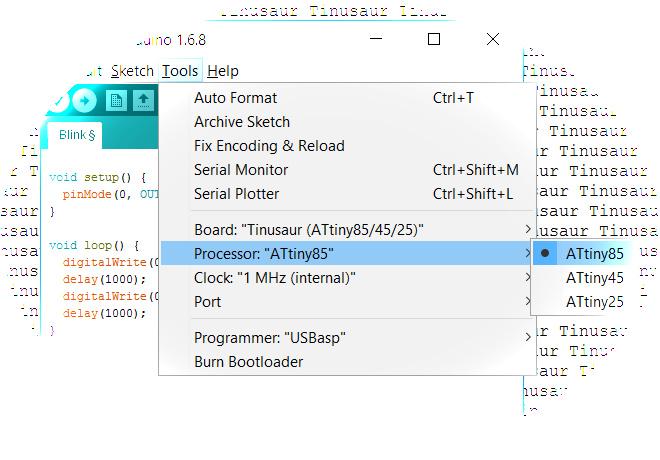 Arduino IDE Working with the Tinusaur